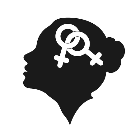 Profile of a female head with the symbol of lesbians, flat design  イラスト・ベクター素材