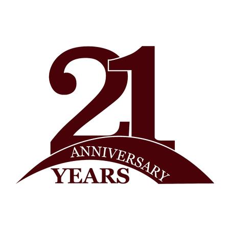 21 years anniversary, flat simple design, logo Ilustração