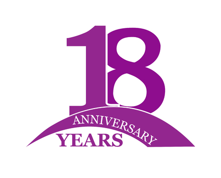 18 years anniversary, flat simple design, logo