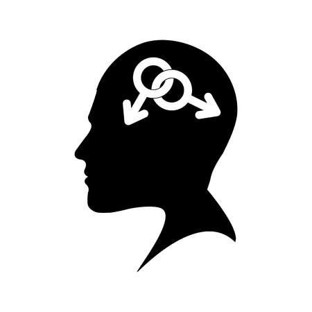 Profile of a male head with a gay character, flat design