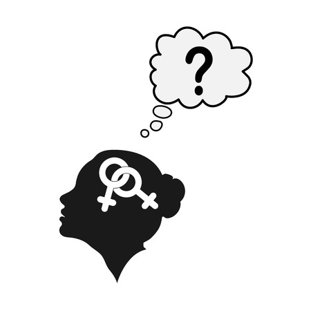 Profile of a female head with the symbol of bigender and the question mark, the idea of belonging to the identity, flat design  イラスト・ベクター素材