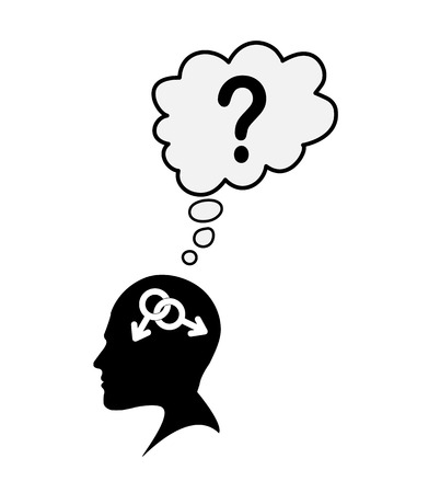 Profile of a male head with a symbol bigender and the question mark, the idea of belonging to the identity, flat design