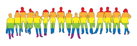Silhouettes of women and men in LGBT colors