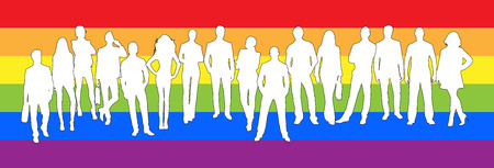 Silhouettes of women and men in the background of the colours of the LGBT  イラスト・ベクター素材