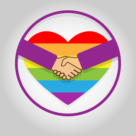 Circle with a handshake on the background of the heart in LGBT colors