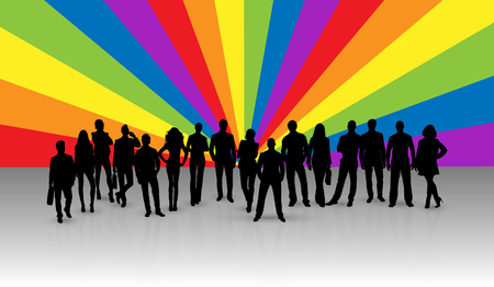 Black silhouettes of men and women on the background of rays in LGBT colors