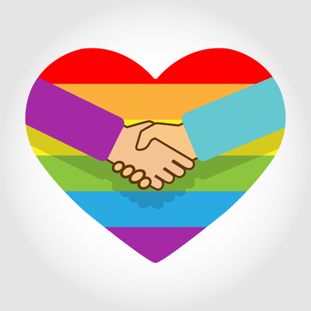 Handshake on the background of a rainbow of hearts in colors of LGBT