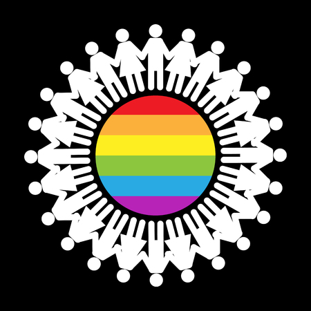 Silhouettes of men and women holding hands around a circle in LGBT colors