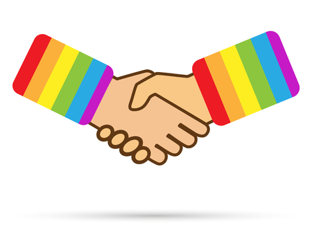 Shake hands with the lapel of clothing in the colours of the LGBT, flat design