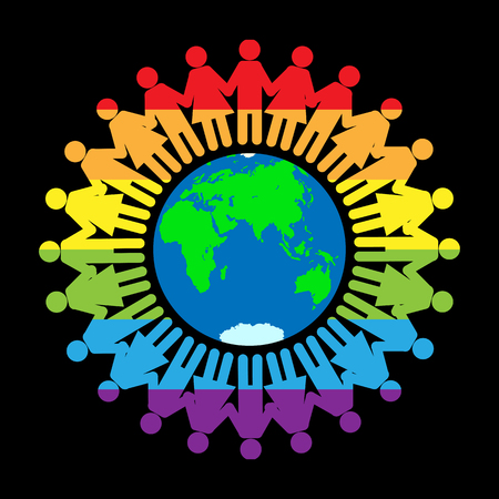 Silhouettes of men and women in LGBT colors holding hands around the globe  イラスト・ベクター素材