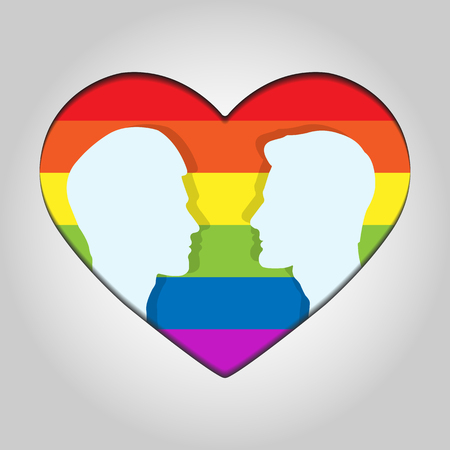 Two male head silhouette facing each other on the background of hearts in colors of LGBT
