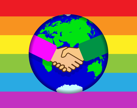 Handshake on the background of the globe. Rainbow background in LGBT colors