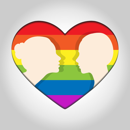 Two female head silhouette facing each other on the background of hearts in colors of LGBT  イラスト・ベクター素材