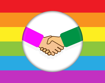 circle with a handshake. Rainbow background in LGBT colors