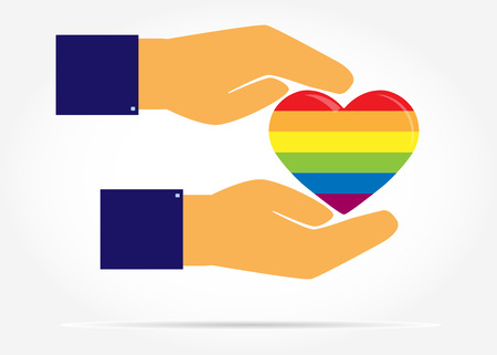 Two hands protect the silhouette of a heart in the colors of LGBT, flat design