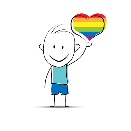Hand-drawn cartoon boy holding a heart in LGBT colors