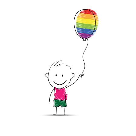 Cartoon cartoon boy holding a balloon in his hand in LGBT colors
