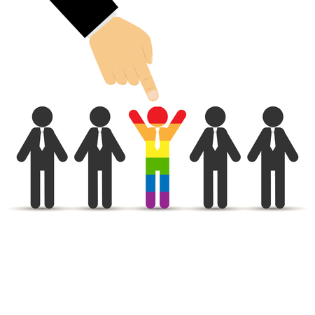 finger of the hand points to the person in the crowd painted in LGBT color, flat design