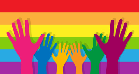 Stretched up the palms of the hands on the background of horizontal stripes in the colours of the LGBT  イラスト・ベクター素材