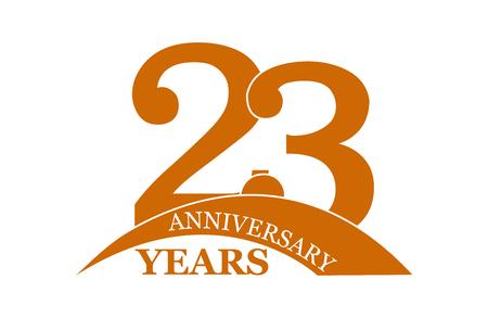 23 years anniversary, flat simple design, logo