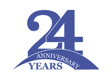 24 years anniversary, flat simple design, logo