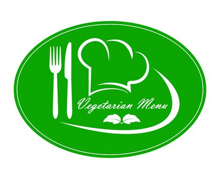 Logo for restaurant, catering or gastro service Vegetarian menu design, simple flat design