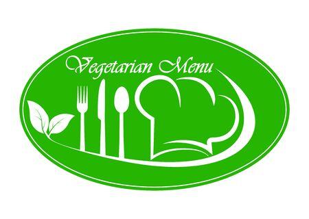 Logo for restaurant, catering or gastro service Vegetarian menu design, simple flat design