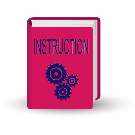 book with the word INSTRUCTION. 3D volume simulation. Векторная Иллюстрация