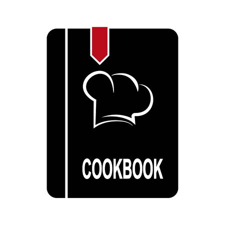 Book or notebook labeled Cookbook, simple flat design