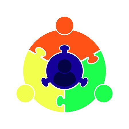 Icon teamwork.Circle in the form of a puzzle of four parts. Flat design
