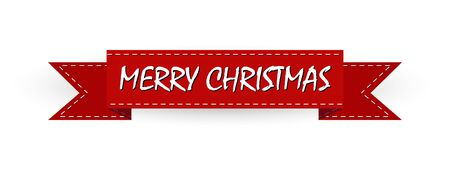 Christmas greeting, red ribbon with the inscription Merry Christmas