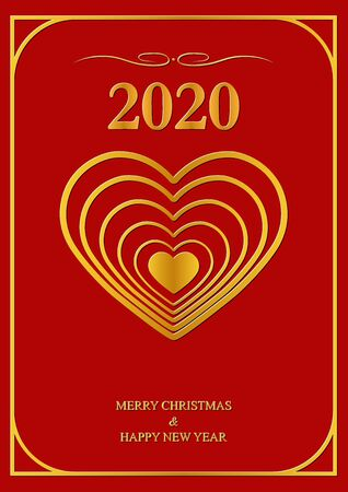 Holiday greeting card With new year 2020 Çizim