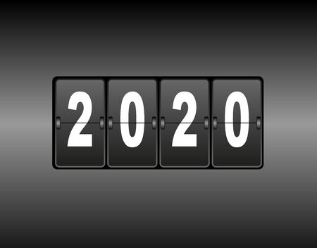 Year change on the calendar counter. The new year 2020 is coming. White numbers, black gradient background.