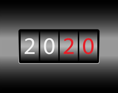 Odometer with numbers 2020. New 2020 on the odometer. White and red numbers, black gradient background. Çizim