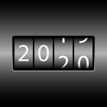 Year change on the odometer. The new year 2020 is coming. White numbers, black gradient background.