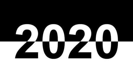 Black and white numbers on a black and white background. New year 2020.