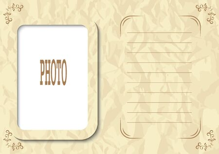 Photo frame in vintage style for the family album, the pages of your social media account, background or screen saver with the description or text.