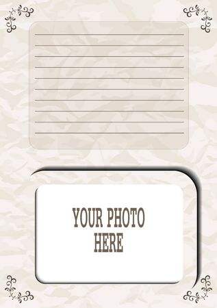 Photo frame in vintage style for the family album, the pages of your social media account, background or screen saver with the description or text. Stockfoto - 128685718