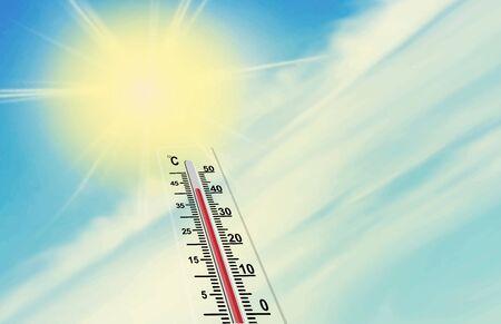 sol y la escala del termómetro. La temperatura del aire es de más de 40 grados centígrados. Calentamiento global.