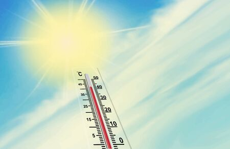 sun and the scale of the thermometer. The air temperature is more than 40 degrees Celsius. Global warming. Stok Fotoğraf