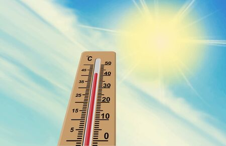 Sun and thermometer. The air temperature is more than 40 degrees Celsius. Global warming.