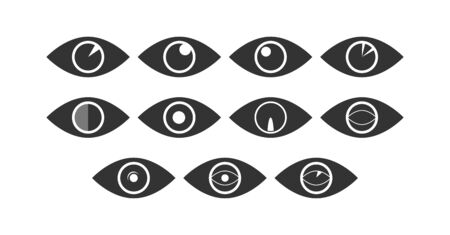 Set of eye icons. Flat design. Set of buttons.