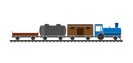 Childrens freight train with different cars. Simple flat design.
