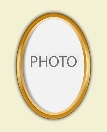 Gold oval frame for photo, diploma or diploma. The frame can be used for text.