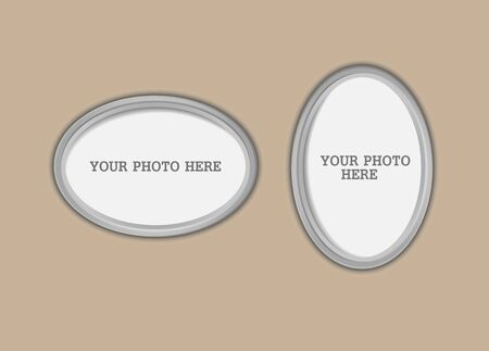 Horizontal and vertical silver frames for photography, diploma or diploma. The frame can be used for text.