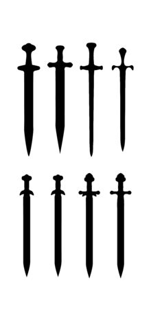 icon sword. Cold steel medieval arms, flat design.