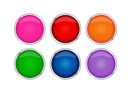 realistic set of colored buttons in a metal frame. Illustration