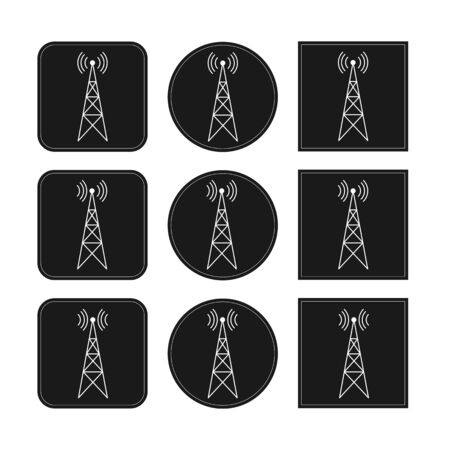 Icon set with transmitter, repeater and receiver mast on square and round black background, simple flat design. Çizim