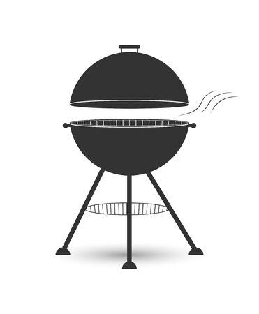 Icono de parrilla con parrilla para asar carne sobre brasas, diseño plano simple.