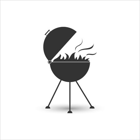 Grill icon for frying meat with fire, simple flat design. Illusztráció